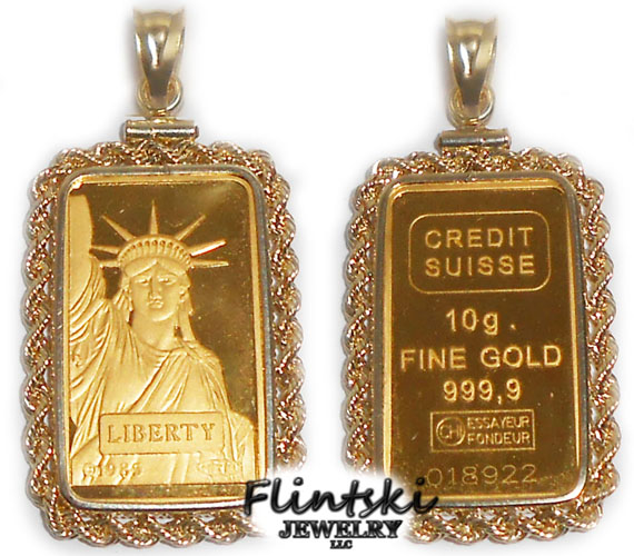 10 Gram Credit Suisse 24k Gold Bar Encased In A 14k Gold Coin Bezel Pendant