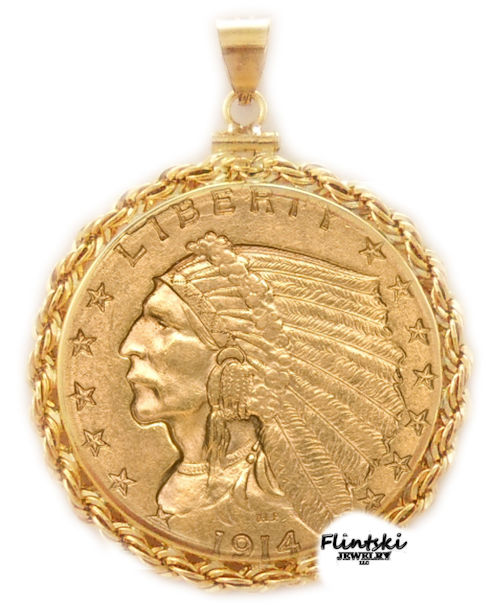 250 gold indian coin pendant 14k gold 250 gold indian 24k gold coin encased in a 14k gold coin bezel pendant aloadofball Image collections