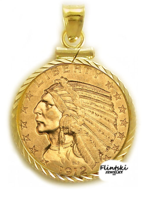 5 gold indian coin pendant with 14k gold coin bezel 5 gold indian 24k gold coin encased in a 14k gold coin bezel pendant aloadofball Choice Image