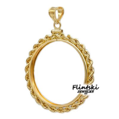 1/10th oz Nugget 14k Gold Rope Coin Bezel Frame Mount Pendant