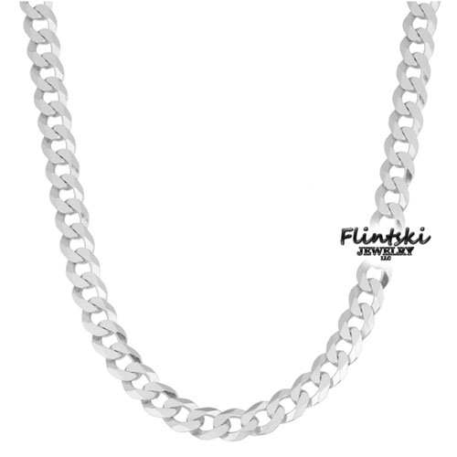 925 Silver Chain >> 6 Sided Curb 925 Sterling Silver Chain 18 5 4mm