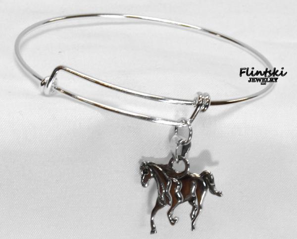 Horse Charm Expandable Bracelet Sterling Silver