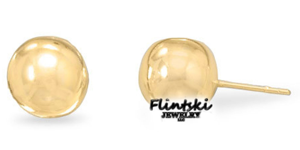 14 Karat Gold Plated 10mm Ball Stud Earrings
