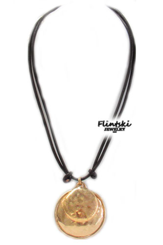 Double link round pendant faux leather cord necklace flintski jewelry double link round pendant faux leather cord necklace aloadofball Choice Image
