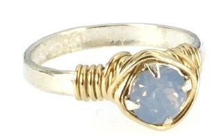 Earth Grace Hand Hammered Ring With Swarovski Crystal