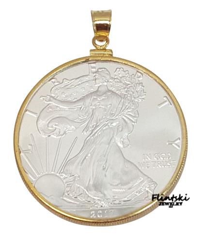 1 Oz Walking Liberty Silver Dollar Coin Pendant 1 20th 14k