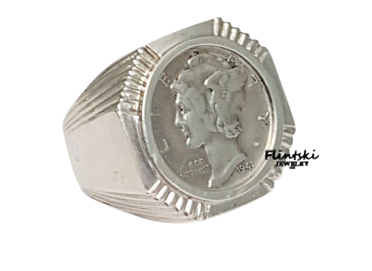 Mercury Dime Coin Ring 925 Sterling Silver Octagon Style. Basketball Rings. Sided Engagement Rings. Partner Wedding Rings. Rounded Square Cut Engagement Engagement Rings. Designer Male Wedding Engagement Rings. Simplistic Engagement Rings. Vvs1 Wedding Rings. Animated Wedding Rings