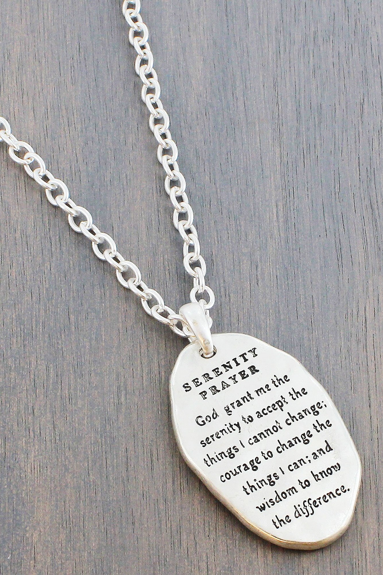 Worn two tone serenity prayer cross and disk pendant necklace worn two tone serenity aloadofball Choice Image