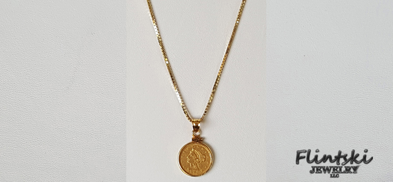 Gold Filled Coin Box Chain Necklace Long Coin Pendant Necklace Everyday Necklace Gold Pendant Necklace